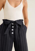 MANGO - Pinstripe linen trouser - black