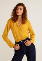 MANGO - Floaty shirt with lined buttons - mustard
