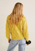 MANGO - Openwork knit sweater - yellow
