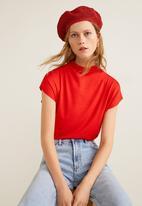 MANGO - High collar T-shirt - red