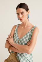 MANGO - Buttoned top with bow detail - green