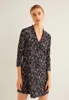 MANGO - Floral v-neck tunic - black & white