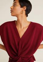 MANGO - Knot detail blouse - burgundy