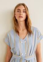 MANGO - Cap sleeve shirt dress - blue & beige