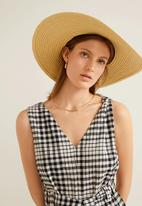 MANGO - Gingham check jumpsuit - black & beige