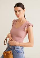 MANGO - Ruffled sleeve round-neck T-shirt - pink