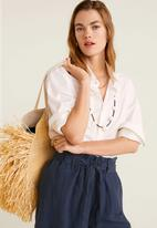 MANGO - Linen shorts with bow detail - navy