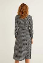 MANGO - Chevron printed wrap dress - black & white
