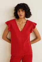 MANGO - Ruffle sleeve v-neck T-shirt - red