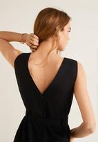 MANGO - Long linen-blend tie waist jumpsuit - black