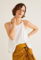 MANGO - Ribbed soft top - white