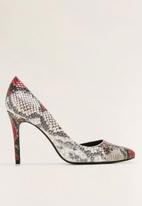 MANGO - Faux leather snake print heel - red