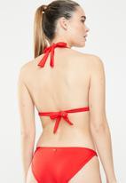 Sissy Boy - Printed padded a-frame bikini top - red