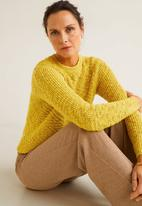 MANGO - Open-knit sweater - yellow