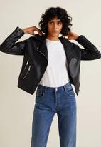 MANGO - Zipped faux leather biker jacket - black