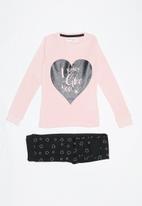 MINOTI - Teens my heart long sleeve pyjama set - black & pink