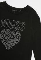 GUESS - Teens long sleeve guess leopard heart tee - black
