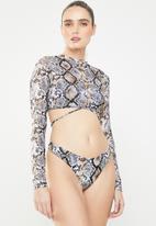 Missguided - 3 Piece snake bikini set  - multi