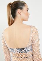 Missguided - Crochet beaded mini dress - white