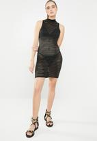 Missguided - Mesh stripe bodycon mini dress - black