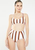 Missguided - Stripe high waisted bikini brief - multi
