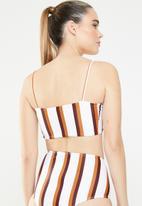 Missguided - Stripe clean longline bikini top - multi