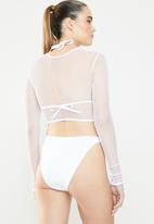 Missguided - Fishnet 3 piece bikini set - white