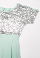 POP CANDY - Sequin dress - blue & silver