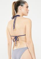 Sun Love - Stripe moulded slide bikini top - blue & white