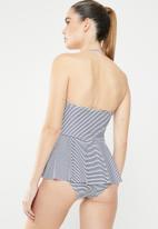 Sun Love - Stripe balconette tankini top - blue & white