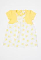 POP CANDY - Printed dress - yellow & white