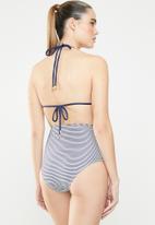 Sun Love - Stripe high waisted bikini bottoms - blue & white
