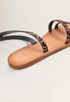 MANGO - Leather leopard print ankle strap sandal - black