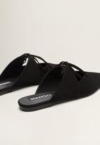 MANGO - Leather cut out mule - black