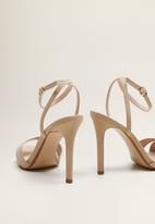 MANGO - Faux suede ankle bracelet stiletto heel - light beige