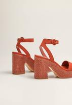 MANGO - Faux suede ankle bracelet woven block heel - medium orange
