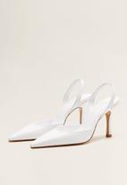 MANGO - Leather slingback heel - white