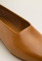 MANGO - Leather slip on ballerina - medium brown