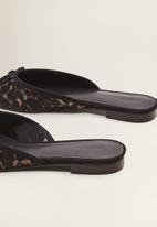 MANGO - Leather leopard print mule - black