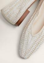 MANGO - Leather blend braided ballerina pump - light beige