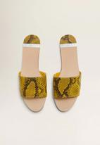 MANGO - Snakeskin faux leather sandal - medium yellow
