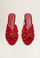 MANGO - Velvet slip-on heel - red