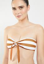MSH - Beachy keen bikini top - brown & white