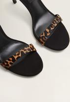 MANGO - Leather leopard print stiletto heel - black & brown