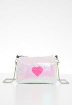 POP CANDY - Sling bag with heart applique - white & pink