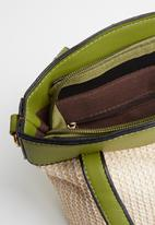 STYLE REPUBLIC - Two-tone woven shoulder bag - beige & green