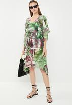 Lithe - Printed kaftan - green & purple
