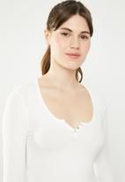 Cotton On - Gemima henley long sleeve top  - white