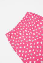 POP CANDY - Heart flannel and fleece pajamas - grey & pink