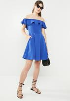 c(inch) - Bardot fit and flare dress - blue